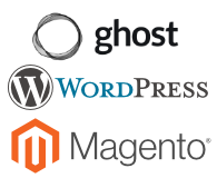 Ghost, WordPress, and Magento logos